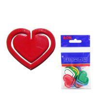 Dopisní spony plastové 651, srdce, 30 mm (10 ks)