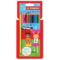 Barevné tužky, šest-hranné, STABILO, 12 různých barev