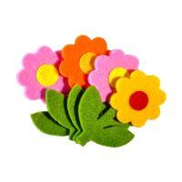 Dekorační plstěné květiny mix barev 4 ks