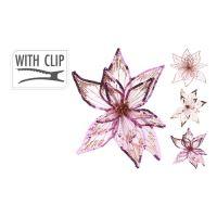 Květ na klipu 20 cm - růžovo / zlatý, mix / 1ks