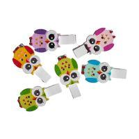 Dekoračné štipce mix farieb sova 6 ks