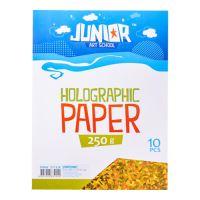 Dekorační papír A4 10 ks žlutý holografický 250 g