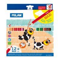 Pastelky MILAN maxi šesthranné 12 ks + ořezávatko