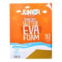 Dekorační pěna A4 EVA 10 ks zlatá samolepicí glitter 2,0 mm
