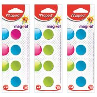 Magnetky, okrúhle, 22 mm, 4 ks/blist, mix farieb