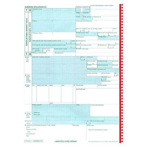 Jednotný správní doklad COL 205, samoprepis (91)