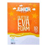 Dekorační pěna A4 EVA 10 ks bílá tloušťka 2,0 mm glitter