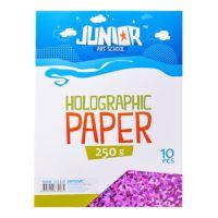 Dekorační papír A4 10 ks růžový holografický 250 g