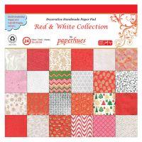 Složka dekor. papíru - 24 listů, 30x30 cm - Red & White Collection