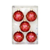 Vánoční koule - červeno / zlatá, 67 mm / sada 5 ks