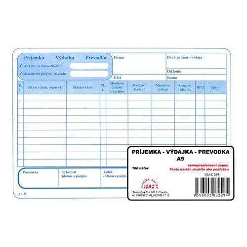 Příjemka - výdejka - Převodka A5, samoprepis (299)