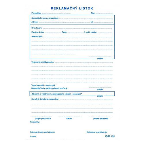Reklamační lístek A5, samopr. (135)