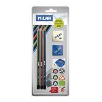 Tužka MILAN 3Xtrojhranná HB + guma + ořezávátko