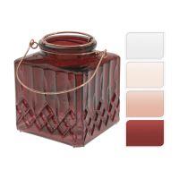 Svícen skleněný na čajovou svíčku - mix barev 10 cm, 1ks