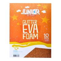 Dekorační pěna A4 EVA 10 ks oranžová tloušťka 2,0 mm glitter