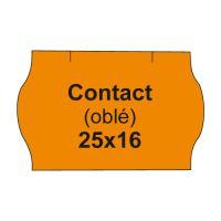 Etikety cen. CONTACT 25x16 oblé - 1125 etikiet/kotúčik, oranžové