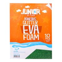Dekorační pěna A4 EVA 10 ks zelená samolepicí glitter 2,0 mm